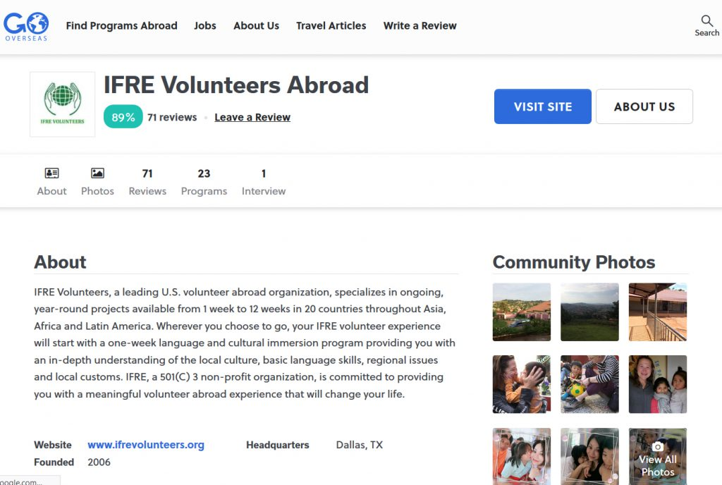 ifre volunteer review on gooverseas