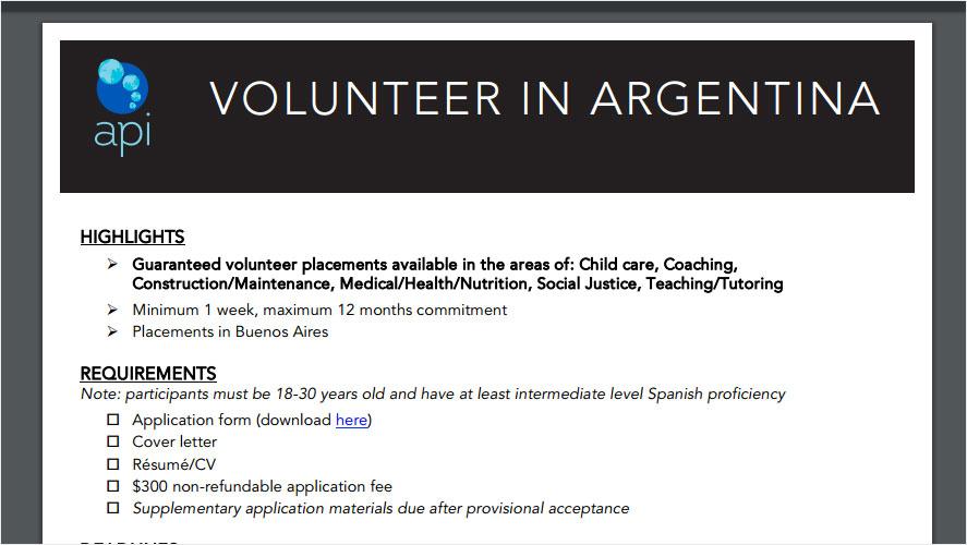 API Volunteer Argentina Opportunities