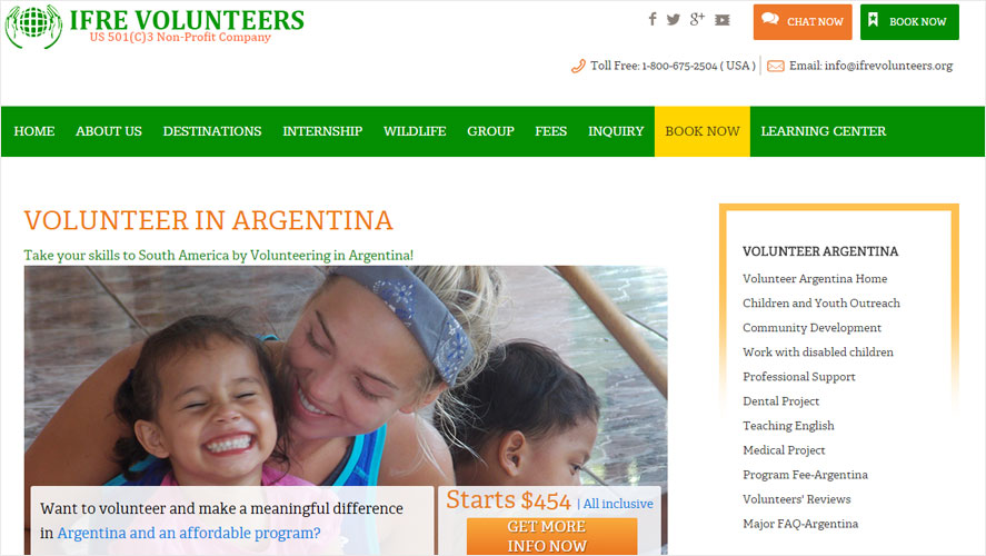 IFRE Cheap Best Volunteer in Argentina Opportunities
