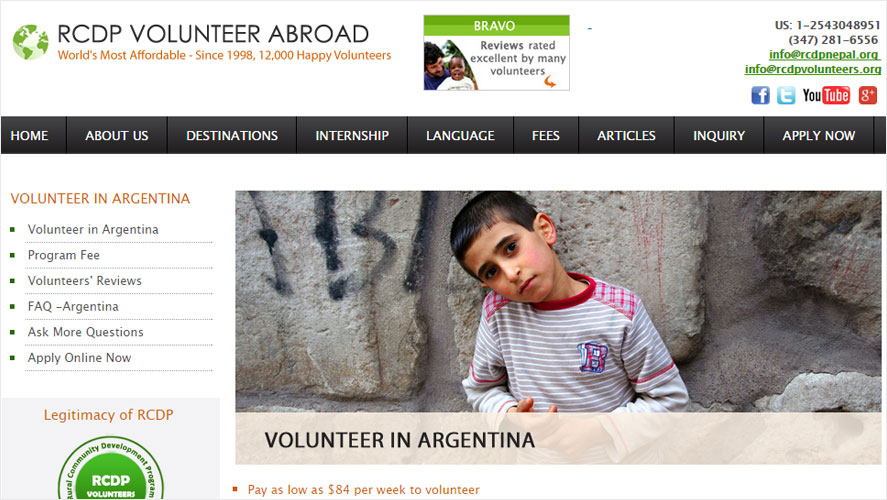 RCDP Most Affordable Argentina Volunteering