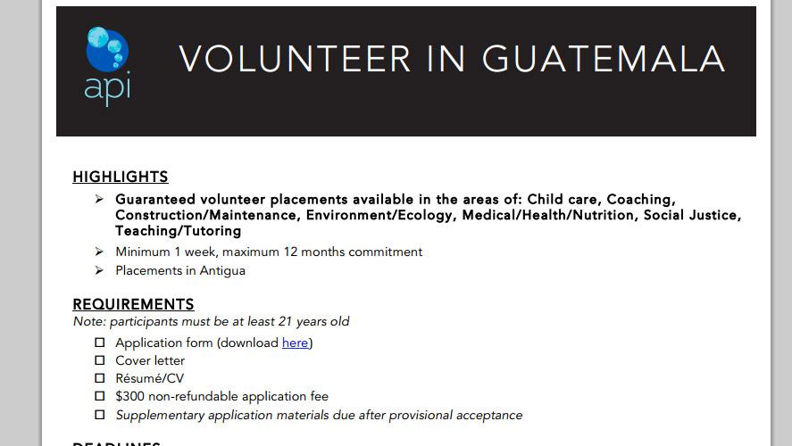 API Best Inexpensive Volunteer Guatemala Programs