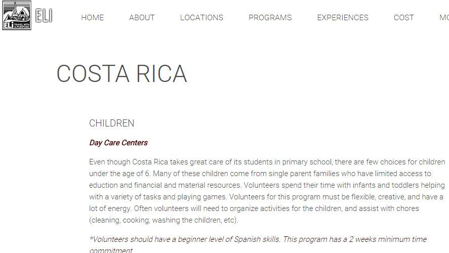 Eli Abroad Volunteer in Healthcare Costa Rica program