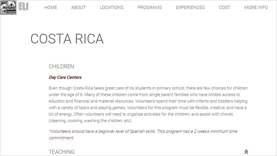 Eli childcare volunteer projects in costa rica