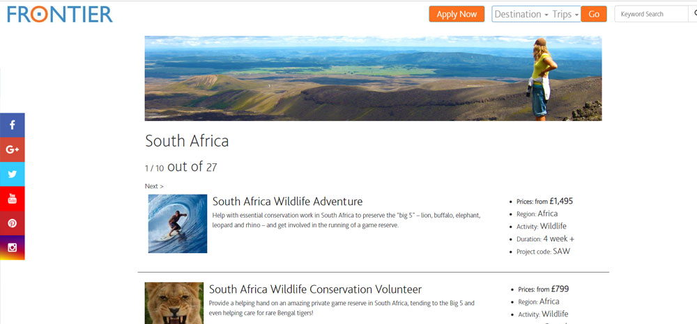 volunteer in South Africa with Frontier