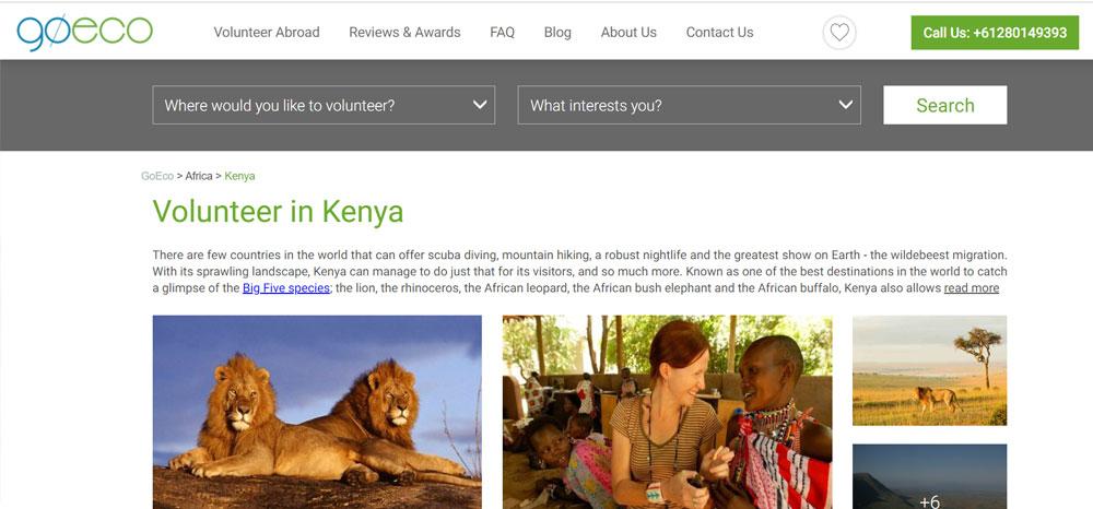 volunteer in Kenya with goeco