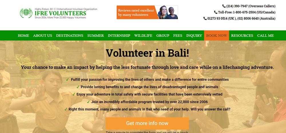 volunteer in Bali with IFRE Volunteers