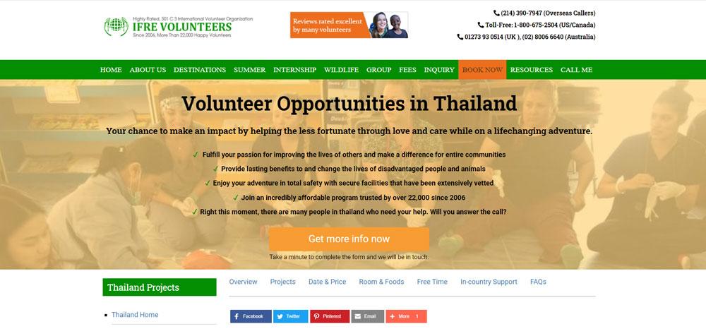 ifre volunteer program in thailand