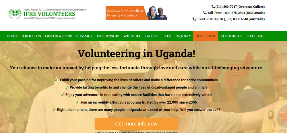 Volunteer in Uganda with IFRE Volunteers