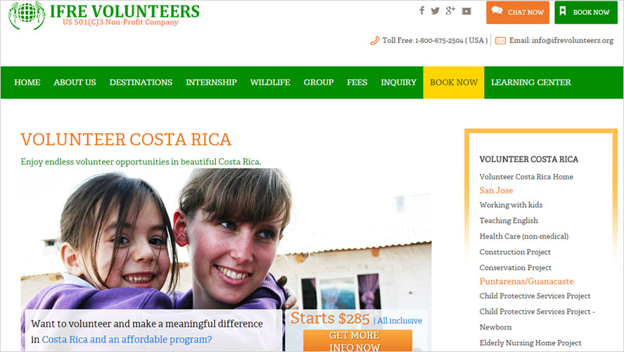 IFRE Cheap Volunteer Experiences in Costa Rica