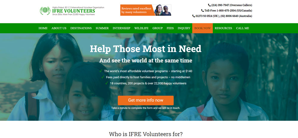 volunteer abroad for college students with IFRE Volunteers