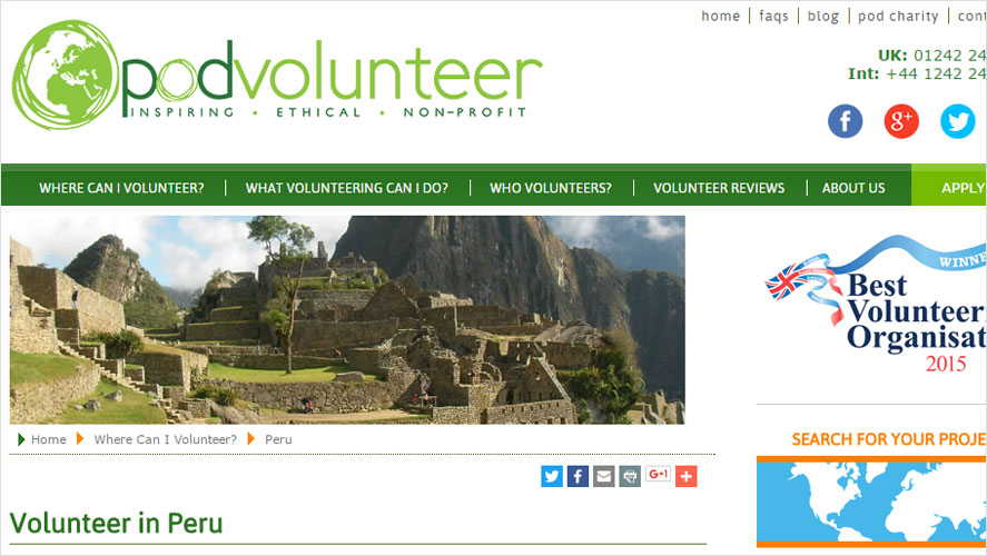 Top volunteering opportunities in Peru by POD Volunteers