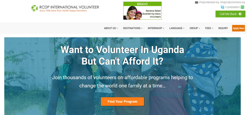 volunteer in Uganda with RCDP Volunteer