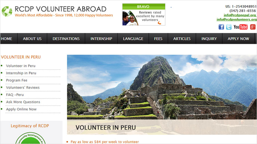 RCDP best cheap volunteer opportunities in Peru