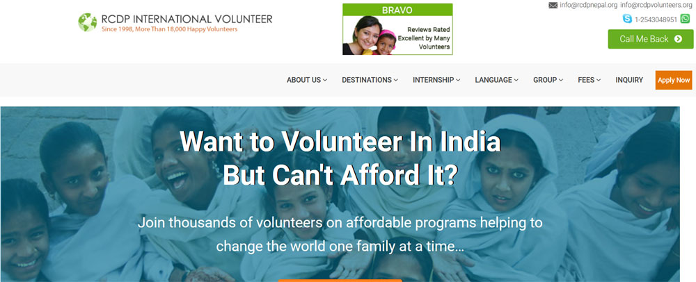 RCDP volunteer india projects