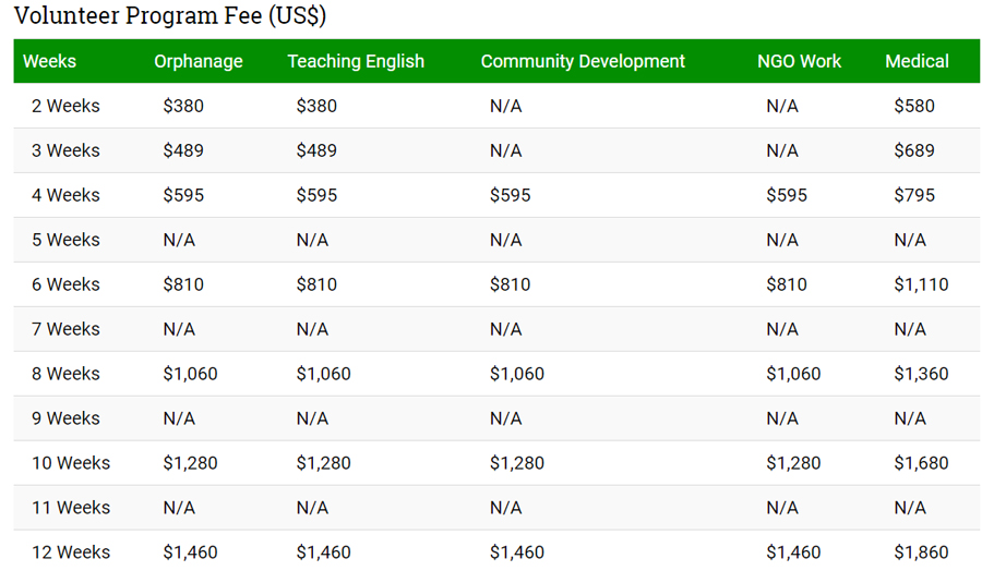volunteer program fee ifre