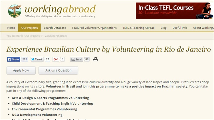 working abroad volunteer in brazil