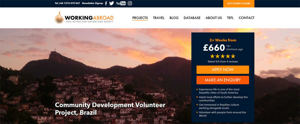 working abroad volunteer brazil