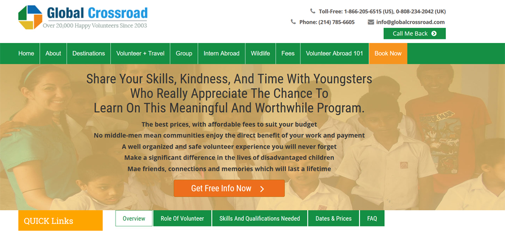 global cross road child care volunteer projects