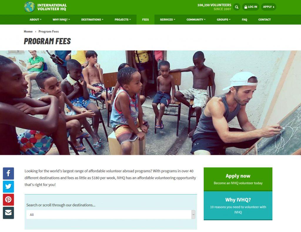 volunteer child care program fee