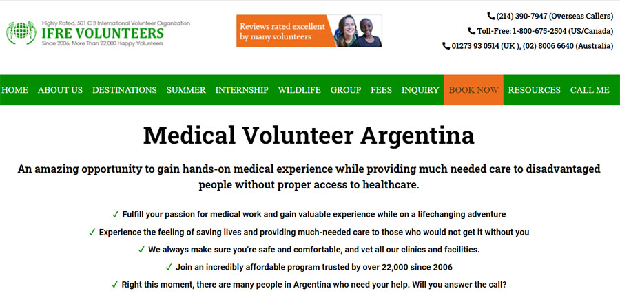 ifre argentian volunteering projects
