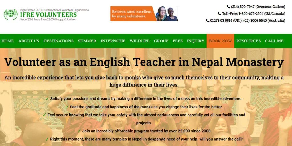 volunteering in a nepal monastery